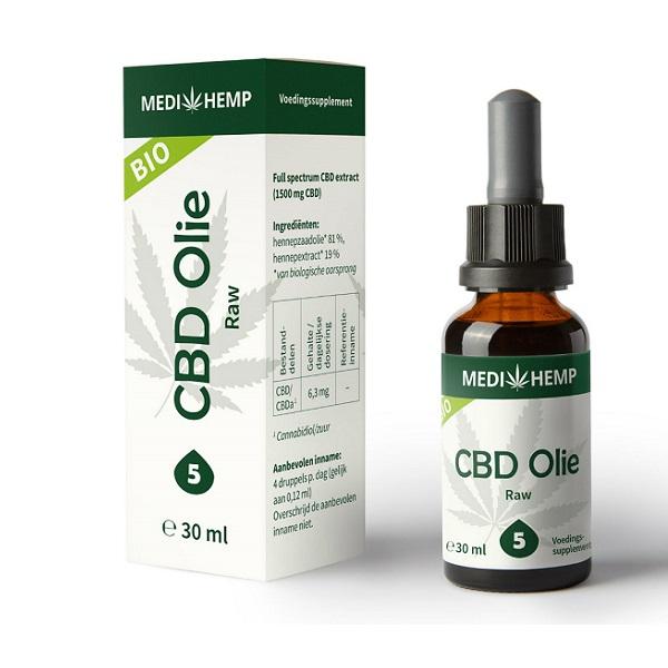 Medihemp CBD Olie Raw – 30 Ml – 5% – 1500 Mg