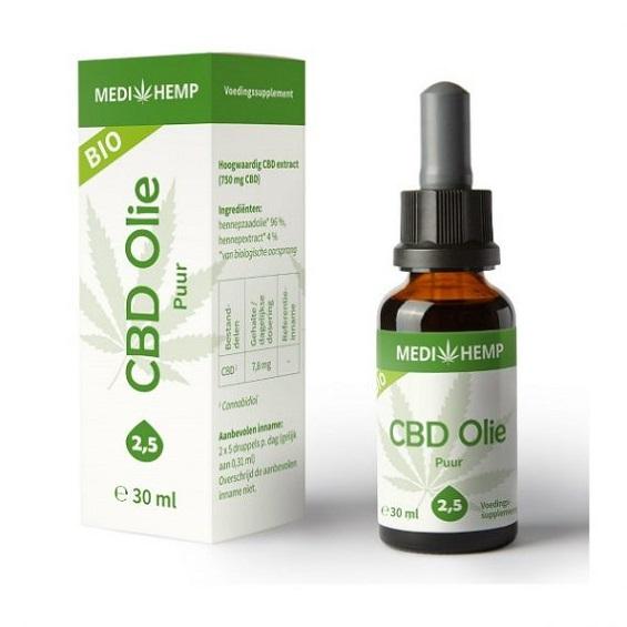 Medihemp CBD Olie Puur – 30 Ml – 2,5% – 750 Mg