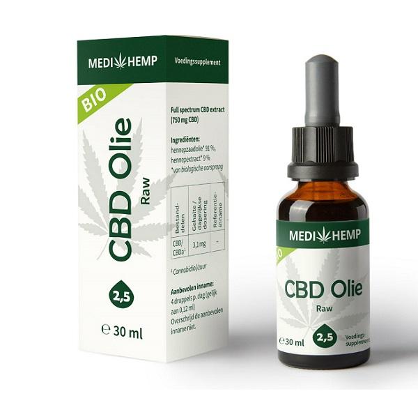 Medihemp CBD Olie Raw – 30 Ml – 2,5% – 750 Mg