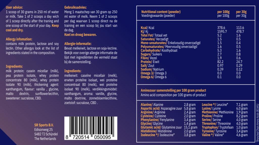 Ingredienten Whey CBD protein